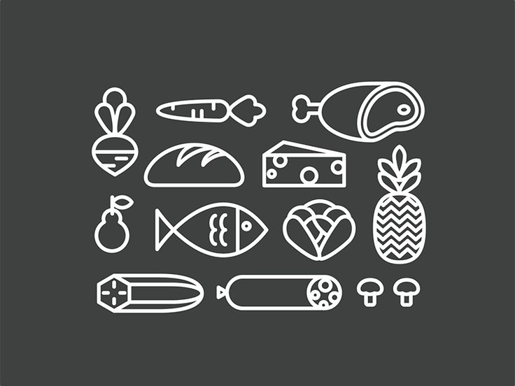 I'm working on a very cool project and this are some icons for a grocery bag. Any suggestion?
