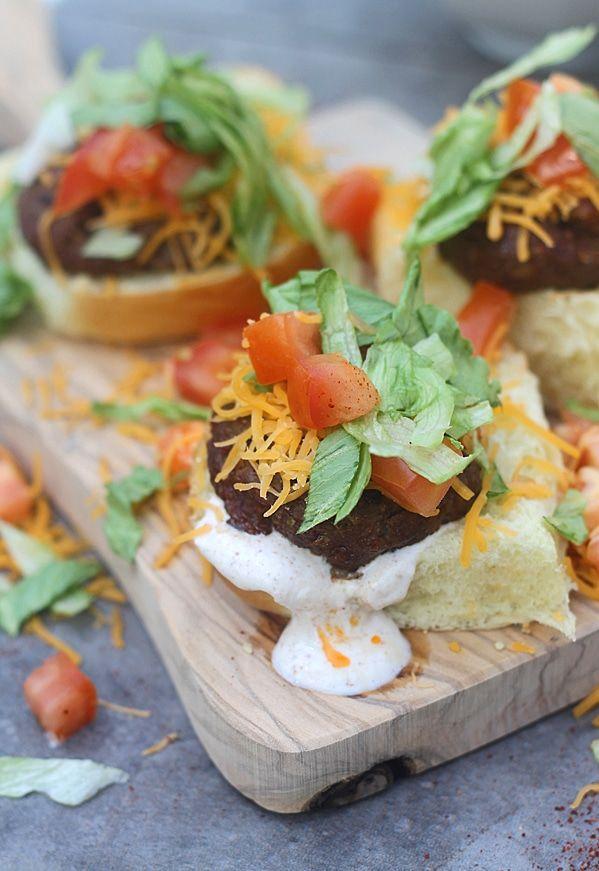 Supreme Taco Burgers with Chili Cumin Sour Cream