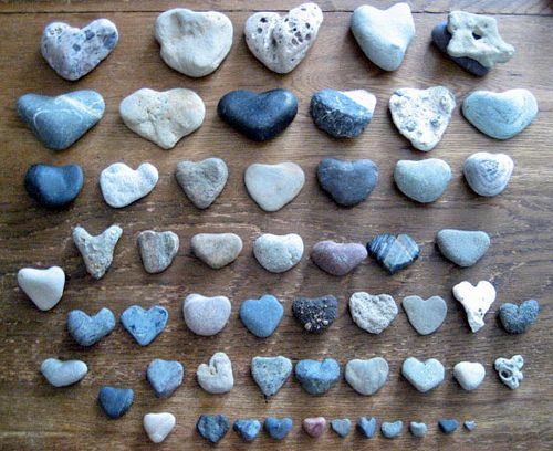 Collecting heart rocks and giving them to someone you care for