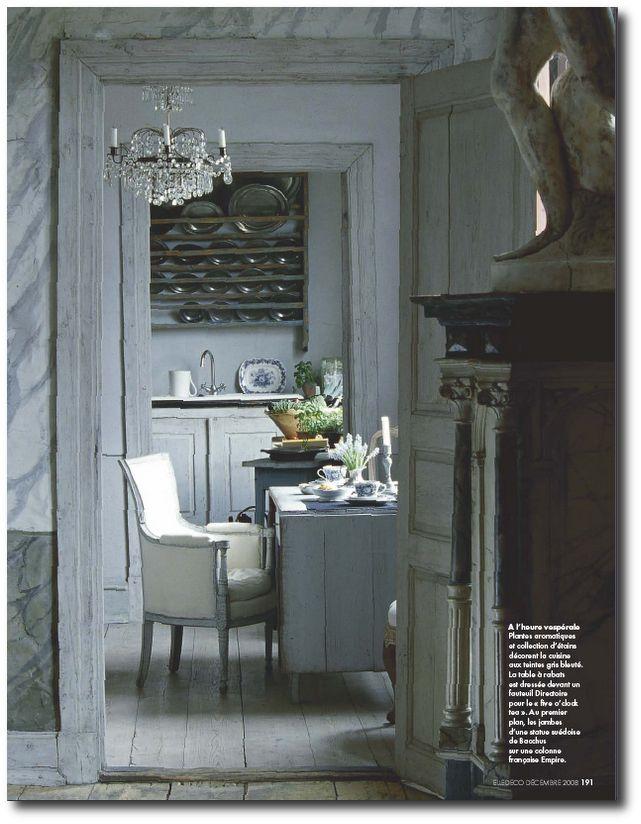 Swedish Home featured in French Elle Decor -December 2008-Antique Dealers Jan Ake af Trampe and Maria Aberg