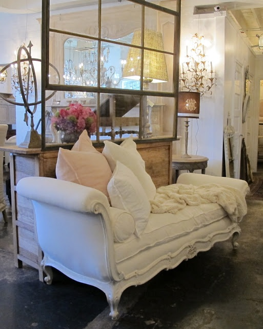 Pom Pom Interiors - Hollywood vintage chaise lounge... this is really a fun one. Wish mine looked like this!