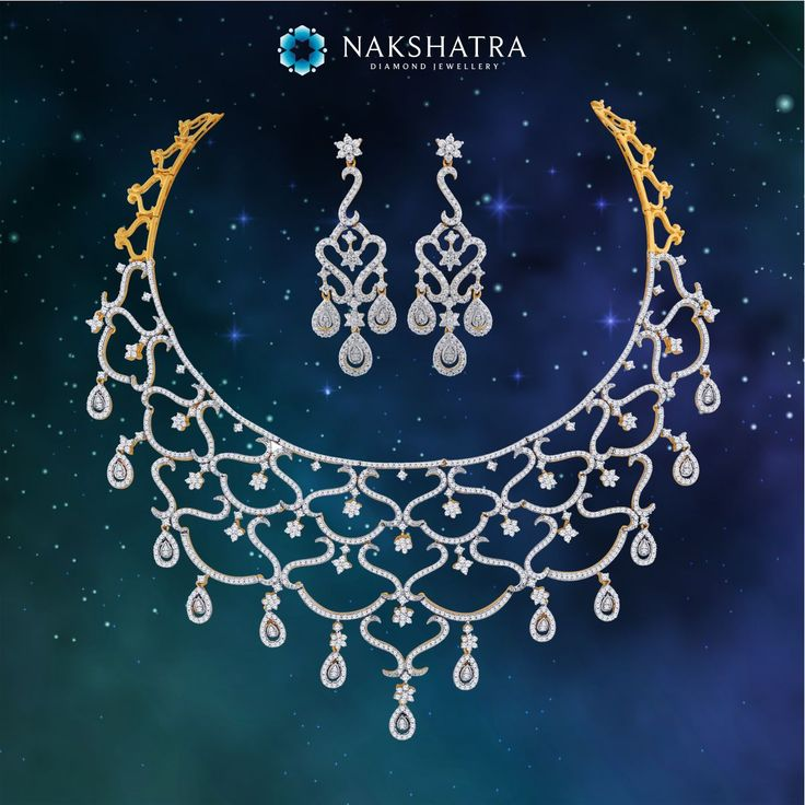 #DivineSplendour. Capturing the aura of a glorious sky studded with stars, this Nakshatra diamond necklace and earring set is ideal for the bride  #Diamondnecklace #Nakshatra #Weddings #weddingjewelry #bride #weddingseason #necklaceset #diamond