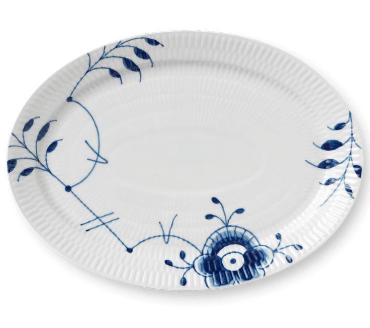 Blå Mega Riflet Oval tallerken 28 cm