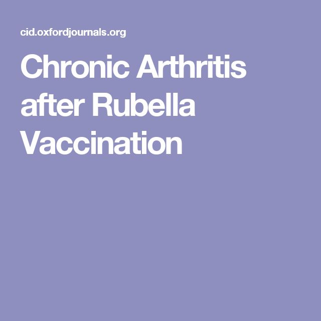 Chronic Arthritis after Rubella Vaccination