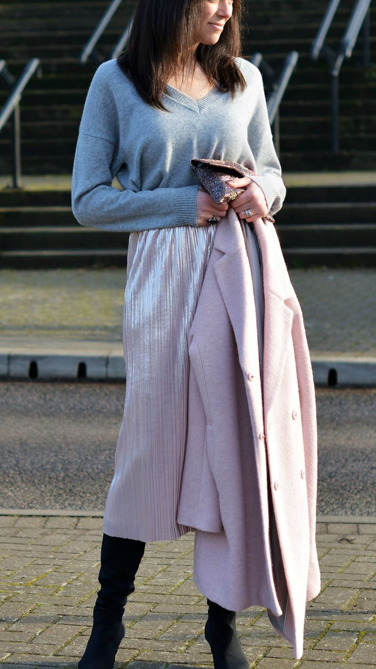 Marks & Spencer cashmere jumper tucked into Zara pink foil pleated skirt with Laura Ashley pink coat - Fashion over 40