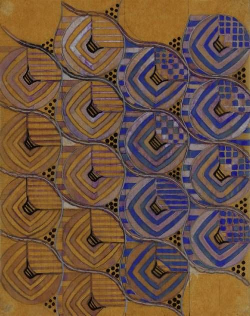 Margaret Macdonald Mackintosh (Scottish), Textile Design - Chiffon Voile, watercolor/paper, c. 1920