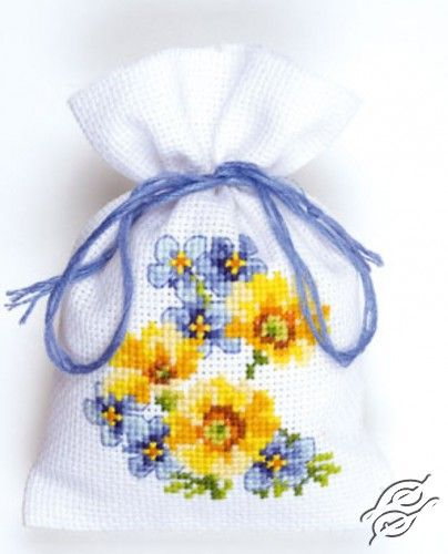 Blue/Yellow Flowers III - Cross Stitch Kits by VERVACO - PN-0146041