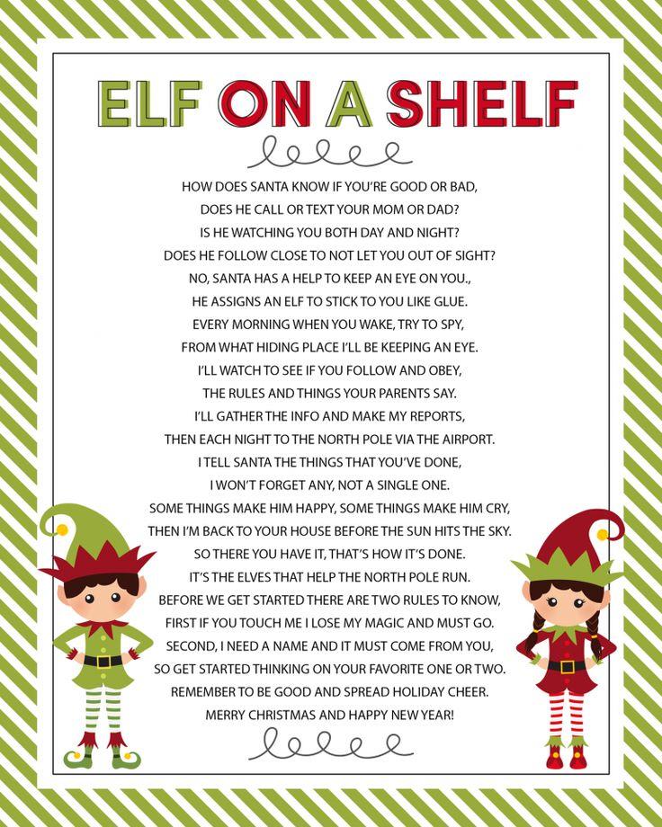 Elf on the Shelf Story FREE Printable Poem Elf, Elf on