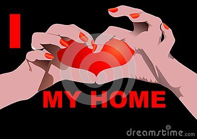 I love my Home  on black with Heart shaped hand position.  Vector illustration.