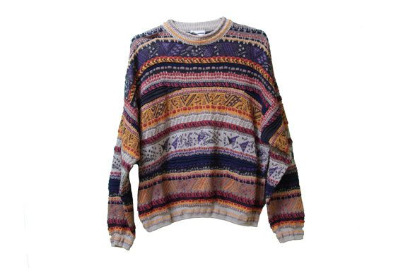 80s Cosby Sweater Geometric Coogi Style by TheBeardedBee on Etsy