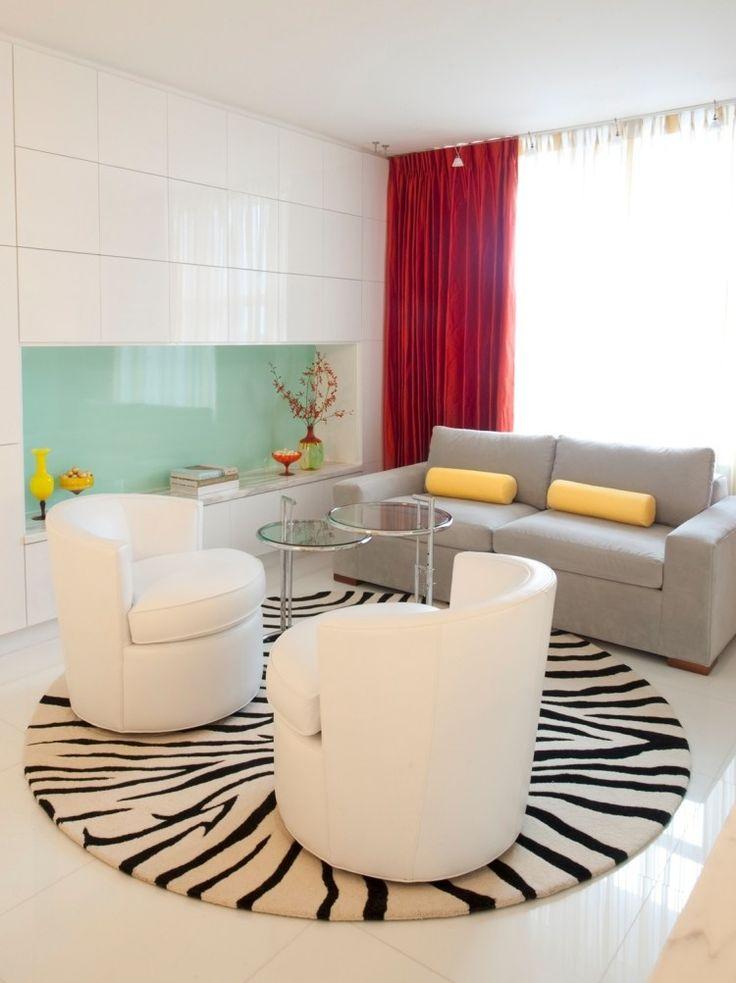 tapis de salon moderne rond imprimé zèbre