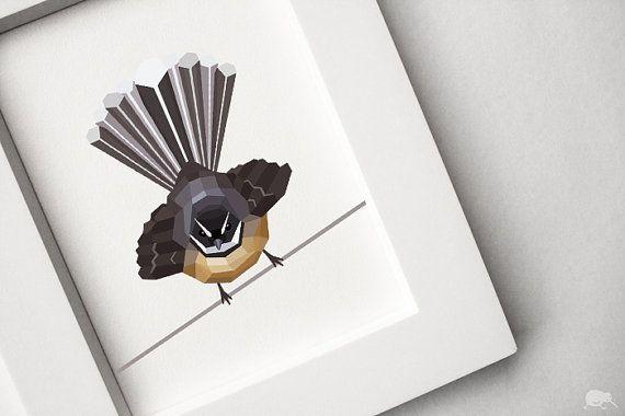 Geometric illustration NZ Fantail bird print by TinyKiwiCreations