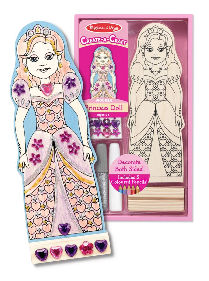 """Decorate your own princess doll    This kit includes everything needed to produce a memorable keepsake!. Packed with a variety of eye catching materials, ideal for use as a party favour or for individual creative play.    Two opportunities to design and decorate a lovely princess and her glamorous gown, all packed in one kit. This kit includes 5 colored pencils, """"gems"""", glitter and white glue to decorate both sides of this wooden princess doll. She may be proudly displayed in her wooden…"""