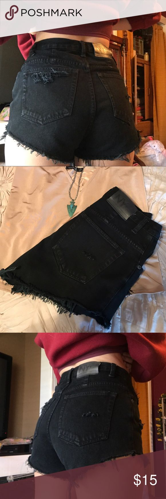 Black vintage NY Jeans Cutoffs Unique black denim (not faded) cutoffs, fit a size 4. Distressed to perfection, and perfect for so many outfits this season! 💣not UO Urban Outfitters Shorts Jean Shorts