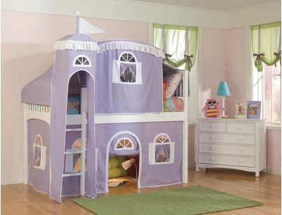 Purple Princess Loft Beds For Girls