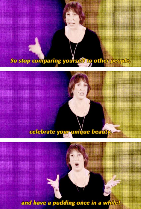 And, of course, to have pudding once in a while. | 18 Times Miranda Hart Spoke The Absolute Truth