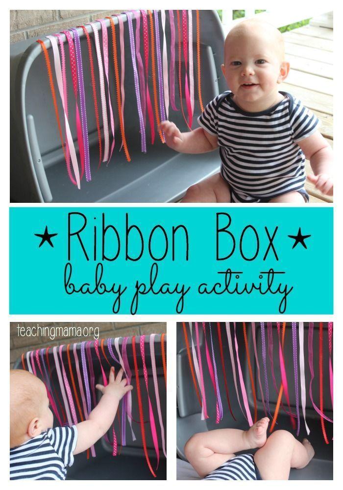 Ribbon Box – Baby Play Activity // use laundry basket
