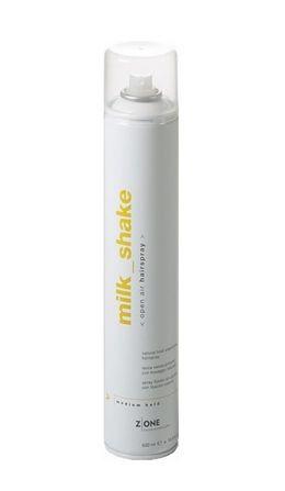 Z.ONE Milk shake open air hairspray-Fixačný lak 500ml  Stredne tužiaci neparfumovaný lak na vlasy vytvorený k dlhotrvajúcej podpore požadovaného tvaru účesu s prirodzeným vzhľadom a bez zaťaženia vlasov. Zanecháva vlasy žiarivé, husté a vitálne.   Návod na použitie: aplikujte zo vzdialenosti 25-30 cm pokiaľ nedosiahnete požadovanú pevnosť účesu.