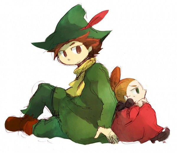 Tags: Anime, Moomin, Snufkin, Little My, Green Outfit, Feather, Hair Up