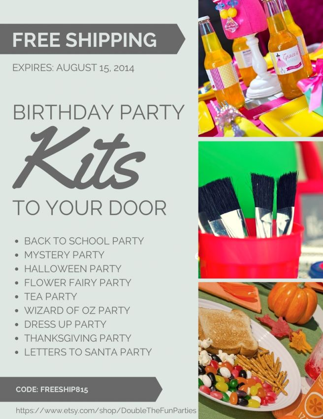 Such an easy way to make your next birthday party happen! Free Shipping on Double the Fun Parties Birthday Party Kits Now Til August 15, 2014