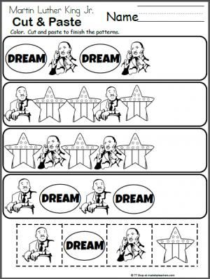 Martin Luther King Jr. Pattern Worksheet.  Free math activity for January.