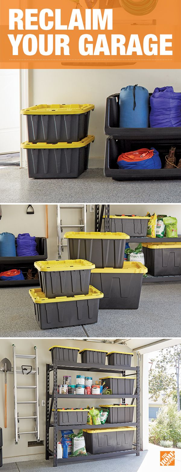 Declutter and organize your garage with our space-saving solutions. These durable, stackable bins can be utilized to fit all your storage needs and create more room in your garage. Click to start organizing and maximizing your space.