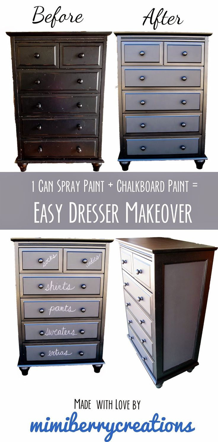 Easy dresser makeover that uses only a can of rustoleum for Spray paint makeovers