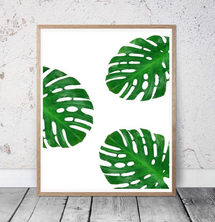 Monstera print, tropical wall art, minimal decor, palm leaf print, plant  wall art, monstera leaf wall decor, minimalism, leaf pattern poster