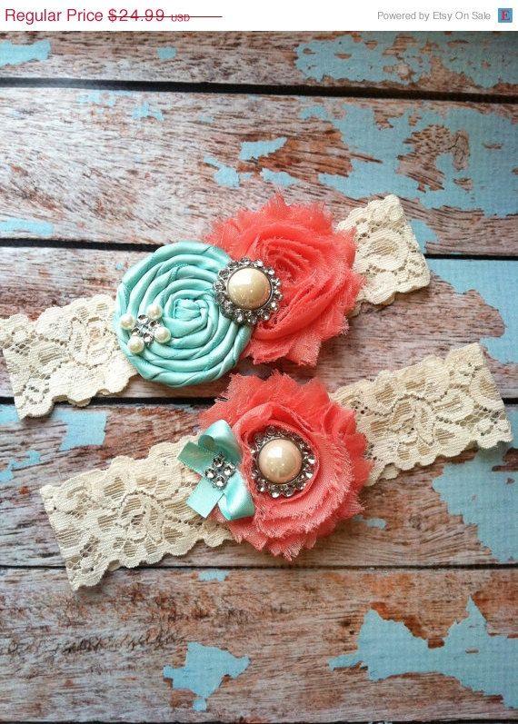 Wedding garter SE  Tiffany blue & Coral  wedding