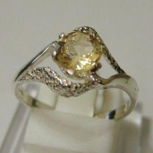 Citrine Swirl Silver Ring Size 8US