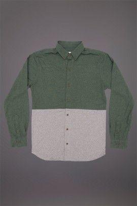 WEMOTO GIFFORD SHIRT GREEN MELANGE HEATHER  WEMOTO A/W 14. 100% cotton two tone shirt.  http://www.abandonshipapparel.com/product/wemoto-gifford-shirt-green-melange-heather/
