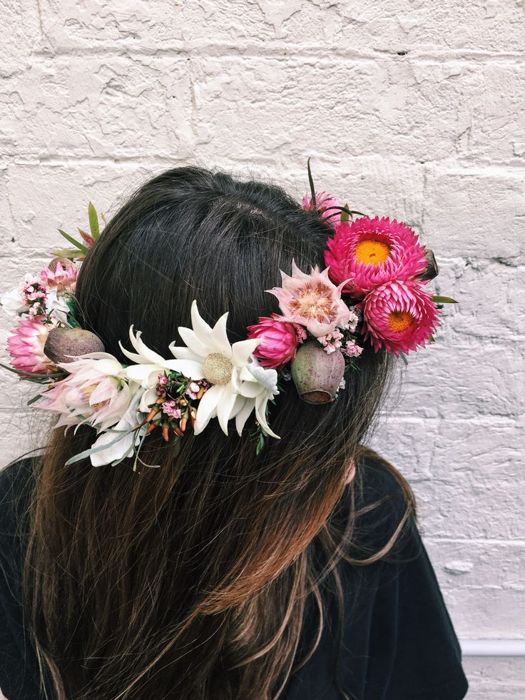 White House Flowers   flower crown of flannel flowers, pink paper daisies, blushing bride serruria, gum nuts