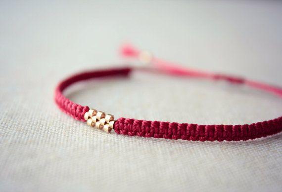 10 Bead Gold Weave / Carmine Red Macrame Bracelet by Riemke #friendship…