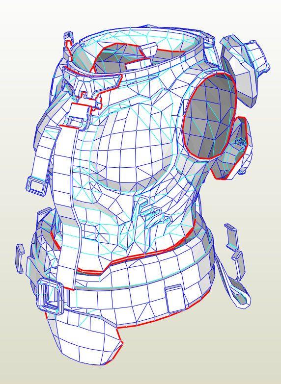 Cosplay Zarya Torso Armour Pepakura .PDO File by HydroidProps on Etsy