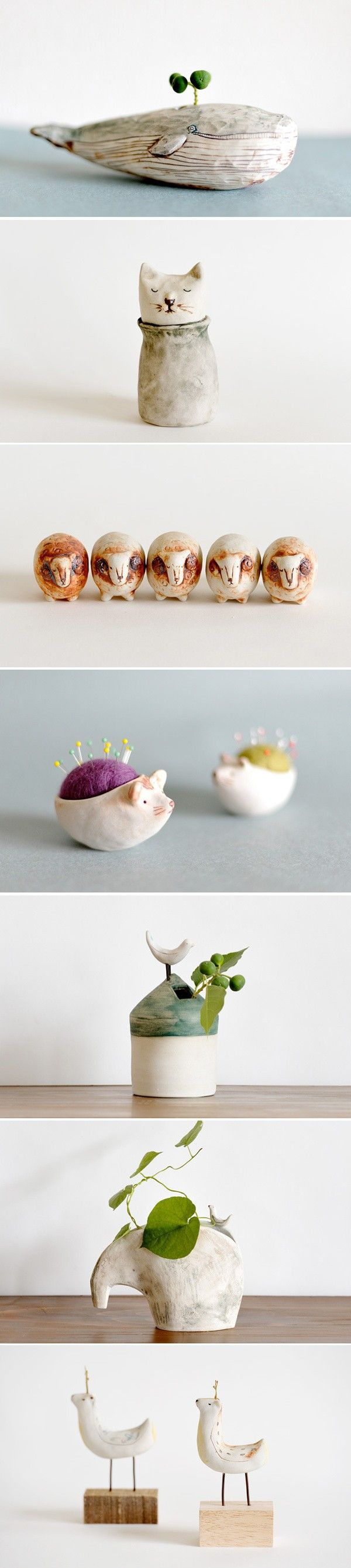 Good ideas to make clay sculptures as a vase or pincushion with felted inside! ♥
