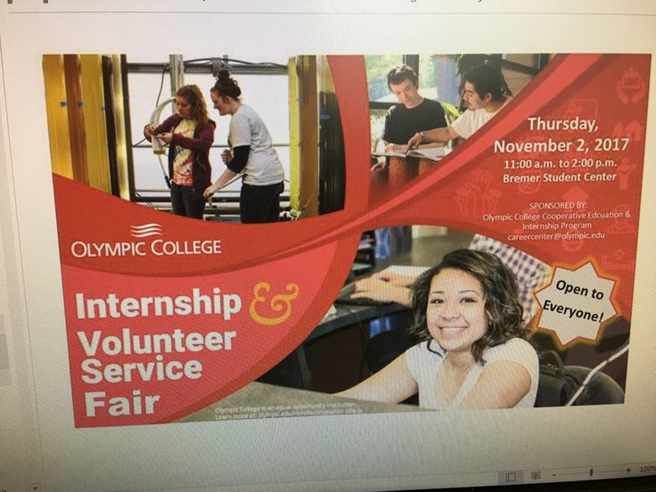 Olympic College Career Center annual Internship & Volunteer Service Fair November 2, 2017 11:00am to 2:00 pm at the Bremerton Student Center
