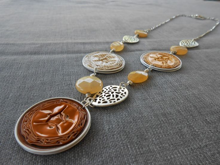 Collana con cialde nespresso bronzo e oro, pietre gialle ed elementi argento CL 82