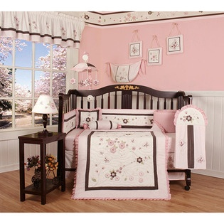 Baby Bedding Pink Blossom Flower 13-piece Crib Bedding Set: Crib Bedding, Cherries Blossoms, Piece Cribs, 13 Piece, Baby Girls, Baby Rooms, Cribs Beds Sets, Bedding Sets, Blossoms Quilts