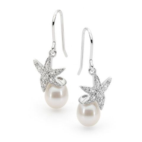 Sterling Silver White 9-9.5mm Freshwater Pearl drop and Cubic Zirconia star sheppard hook Earrings