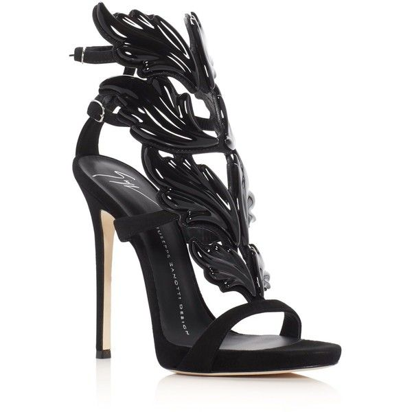 Giuseppe Zanotti Coline Cruel Wing High Heel Sandals ($1,675) ❤ liked on Polyvore featuring shoes, sandals, black, caged heel sandals, cage sandals, giuseppe zanotti sandals, embellished heeled sandals and black cage shoes