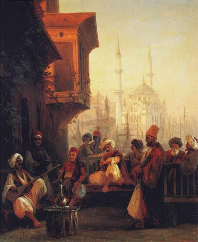 Coffee house by the Ortaköy Mosque in Constantinople, 1846 - Ivan Aivazovsky - WikiPaintings.org