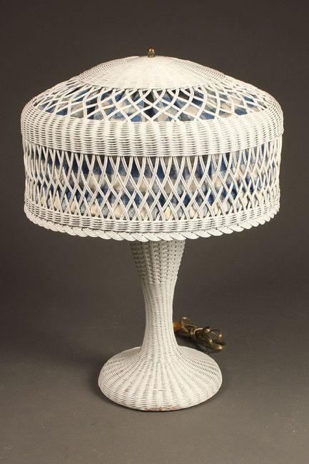 Rare Vintage Wicker Table Lamp 1920 S Antique Vintage