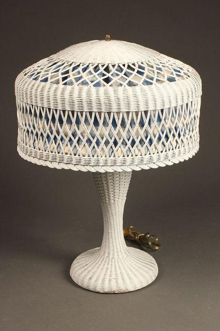Rare Vintage Wicker Table Lamp 1920 S Antique Vintage