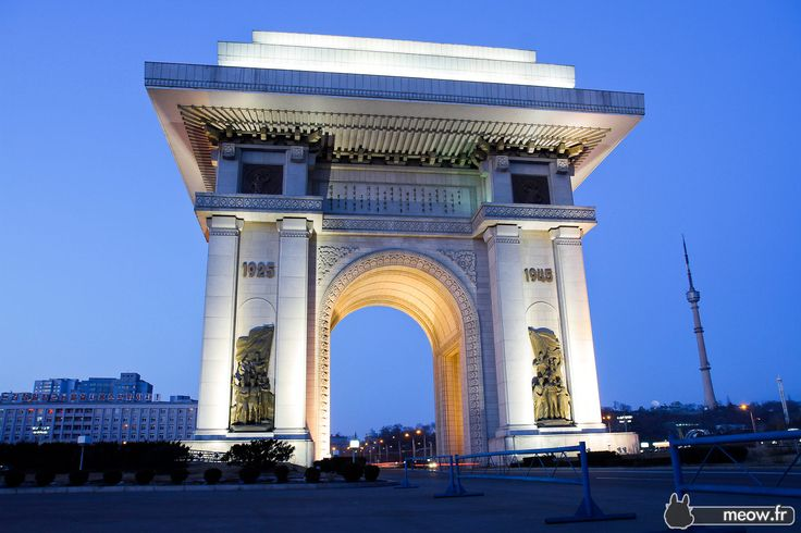 Pyongyang - Arch of Triumph by night
