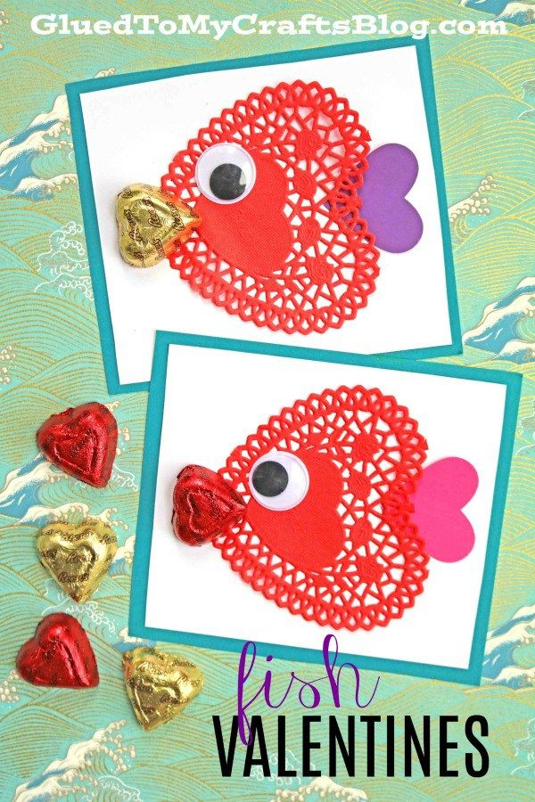 Diy Paper Doily Fish Valentine S Day Cards For The Classroom With