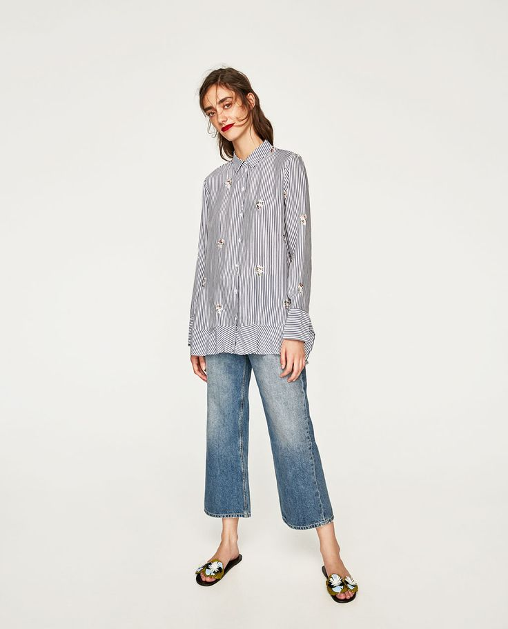 Image 1 of FLOWING EMBROIDERED BLOUSE from Zara