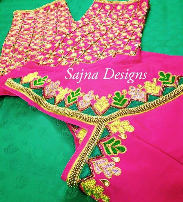 Blouse embroidery designs hand makaroka