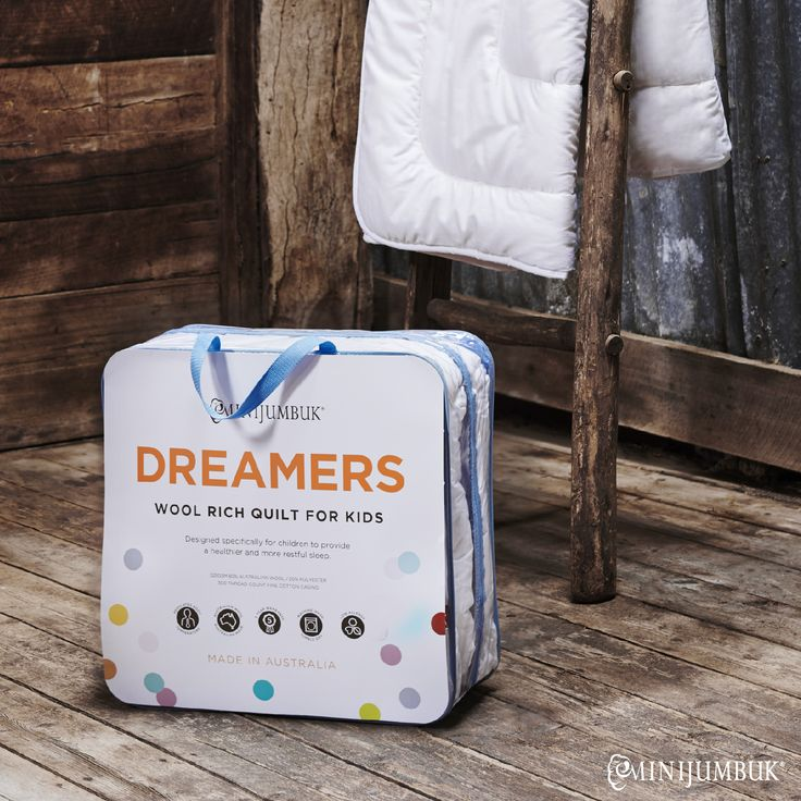 Our Dreamers quilt is specially designed for kids with a mid weight wool rich fill. #Dream #quilts #kids #bedding #LOVEWOOL #MiniJumbuk #DreamersQuilt