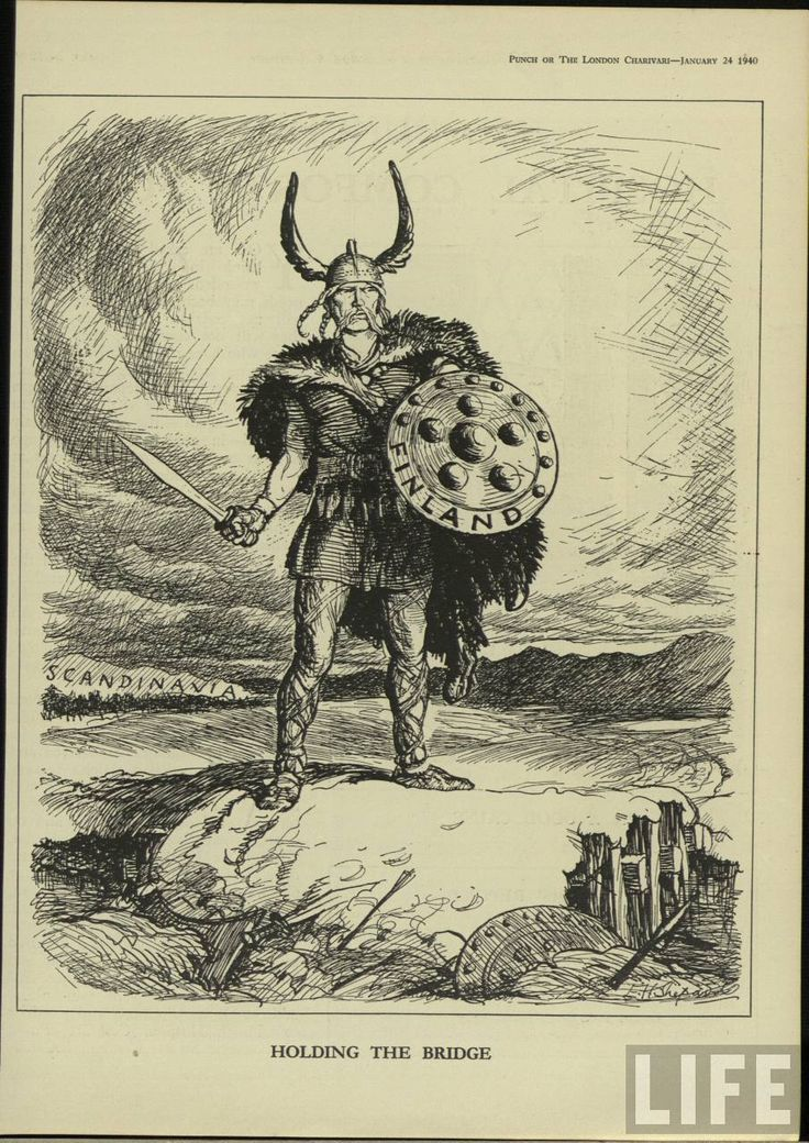 Illustration from Punch, the British humour magazine by E H Shepard, who was the illustrator of Winnie the Pooh. Published in 1940 depicting the Winter War. If there was such a thing as a Finnish Viking, this one might do to defend against the invading Russians.
