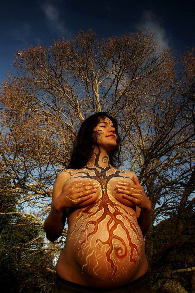 Druids Trees:  Earth Mother. Tree of life pregnant belly painting.